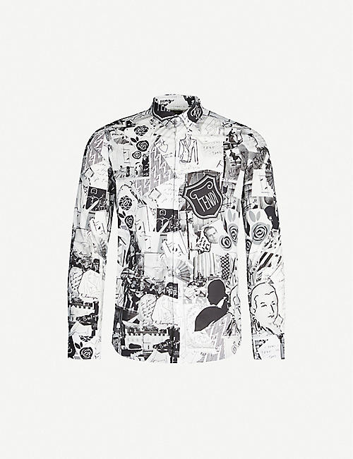 FENDI Karl collage-print slim-fit stretch-cotton shirt