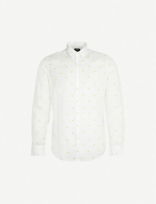 c62d1ea31 FENDI Bag Bugs-embroidered regular-fit cotton shirt