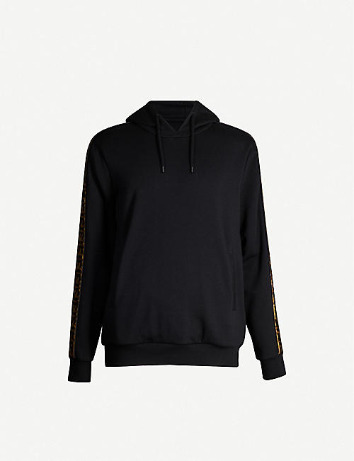 FENDI Side-stripe cotton, wool and silk-blend hoody