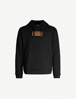 FENDI Logo-patch cotton and cashmere-blend hoody