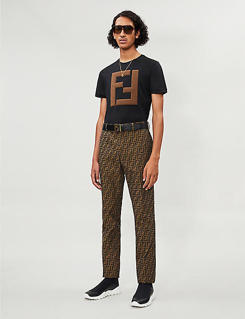 FENDI Logo-appliquéd cotton-jersey T-shirt