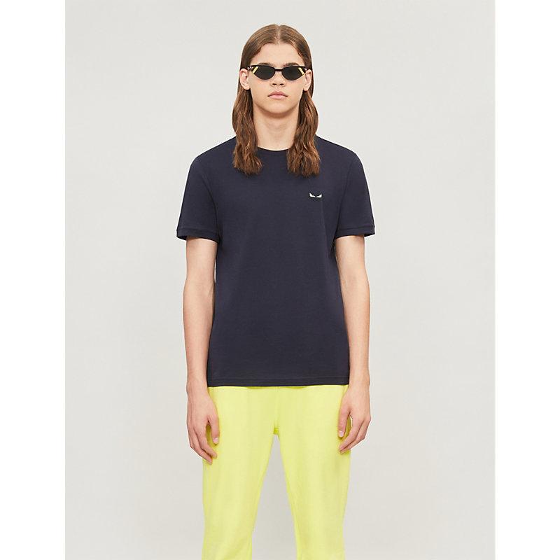 Fendi T-shirts BAG BUGS-EMBROIDERED COTTON-JERSEY T-SHIRT