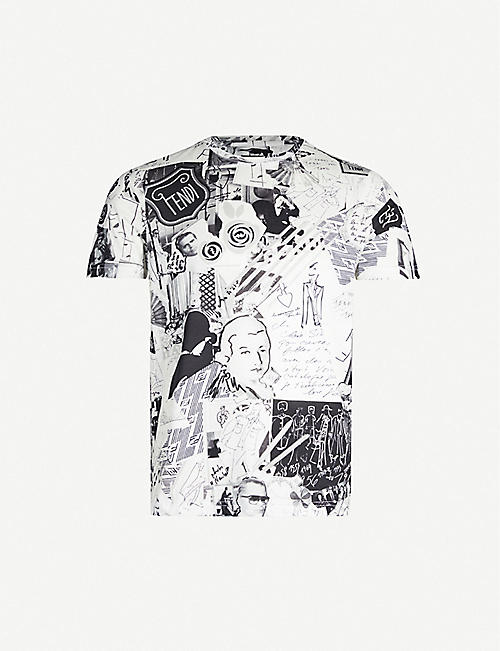 FENDI Karl collage-print cotton-jersey T-shirt