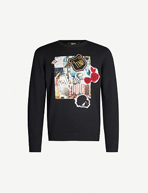 FENDI Karl collage-patch wool jumper