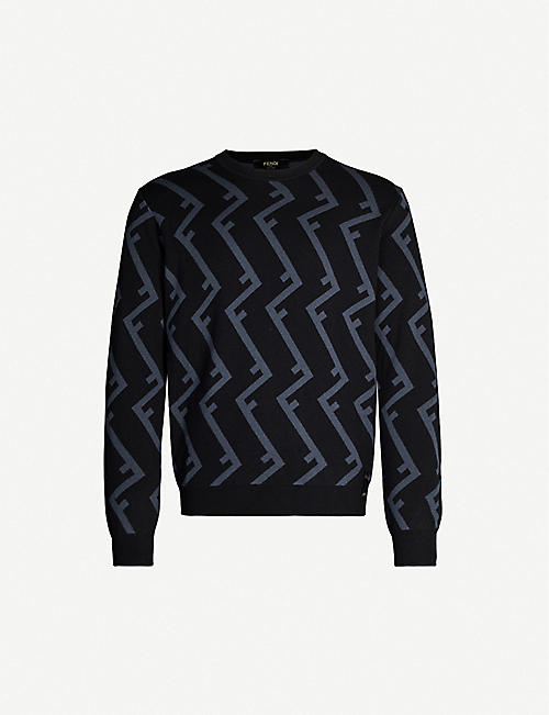FENDI Logo-print wool jumper