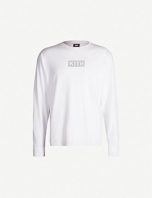 KITH Reflective logo-print cotton-jersey top