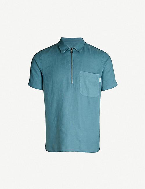 4e8ab100e77 PS BY PAUL SMITH Half zip short-sleeved linen shirt