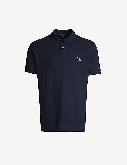 PS BY PAUL SMITH Zebra-embroidered cotton-piqué polo shirt