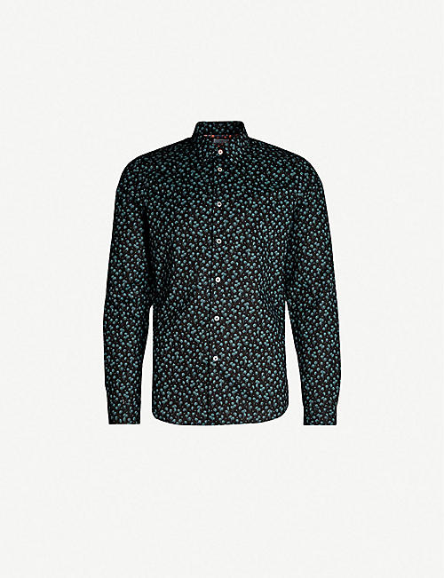 9a676ef9bc9 PS BY PAUL SMITH Palm-print tailored-fit stretch-cotton shirt