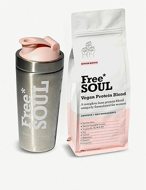 FREE SOUL Vegan Protein – ginger biscuit and shaker 600g