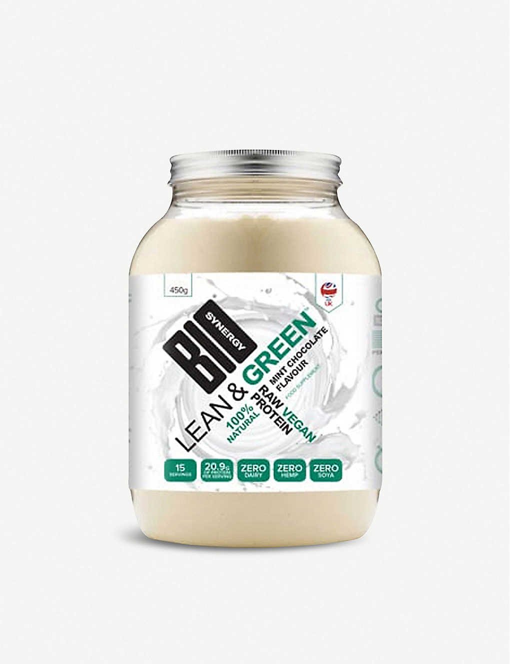 BIO SYNERGY: Lean and Green 100% natural raw vegan protein 450g