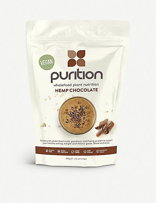 PURITION Dairy-free hemp and chocolate protein powder 40g