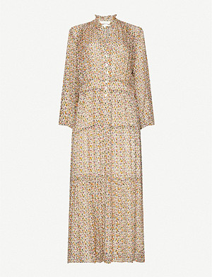 BA&SH Dean graphic-print crepe midi dress