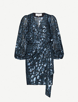 BA&SH Ginger metallic leopard-print silk-blend dress