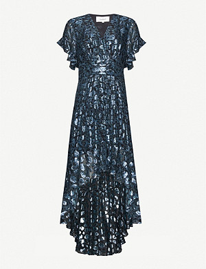 BA&SH Grace metallic leopard-print silk-blend dress