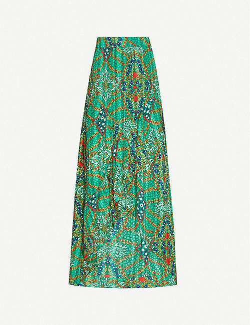 BA&SH: Hall printed metallic crepe midi skirt