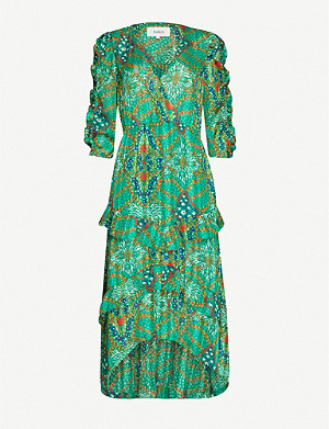 BA&SH Happy graphic-print metallic crepe midi dress