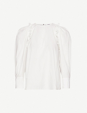BA&SH Passion puffed-sleeve cotton blouse
