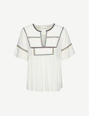 BA&SH Taylor embroidered crepe top