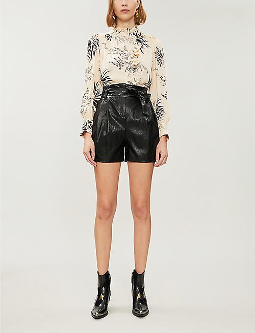 BA&SH Eda floral-print satin-crepe shirt