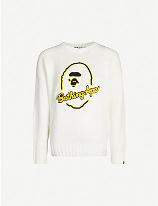 BAPE: Logo-embroidered knitted jumper