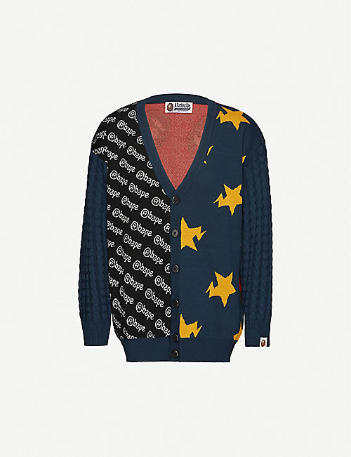 BAPE Crazy-patterned knitted cardigan
