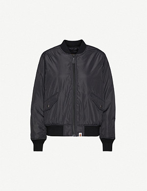 BAPE Text-print shell bomber jacket