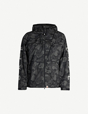 BAPE Camouflage-print hooded shell jacket