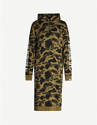 BAPE: Camouflage-print cotton-jersey hoody dress