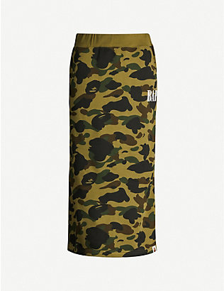 BAPE: 1st Camo graphic-print cotton-jersey midi skirt