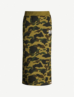BAPE 1st Camo graphic-print cotton-jersey midi skirt