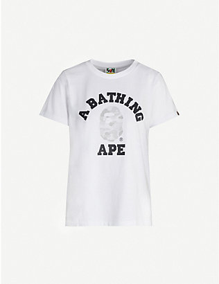 BAPE: ABC Dot College reflective-print cotton-jersey T-shirt