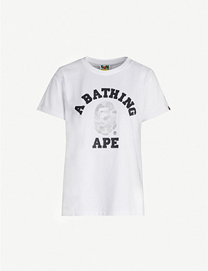 BAPE ABC Dot College reflective-print cotton-jersey T-shirt