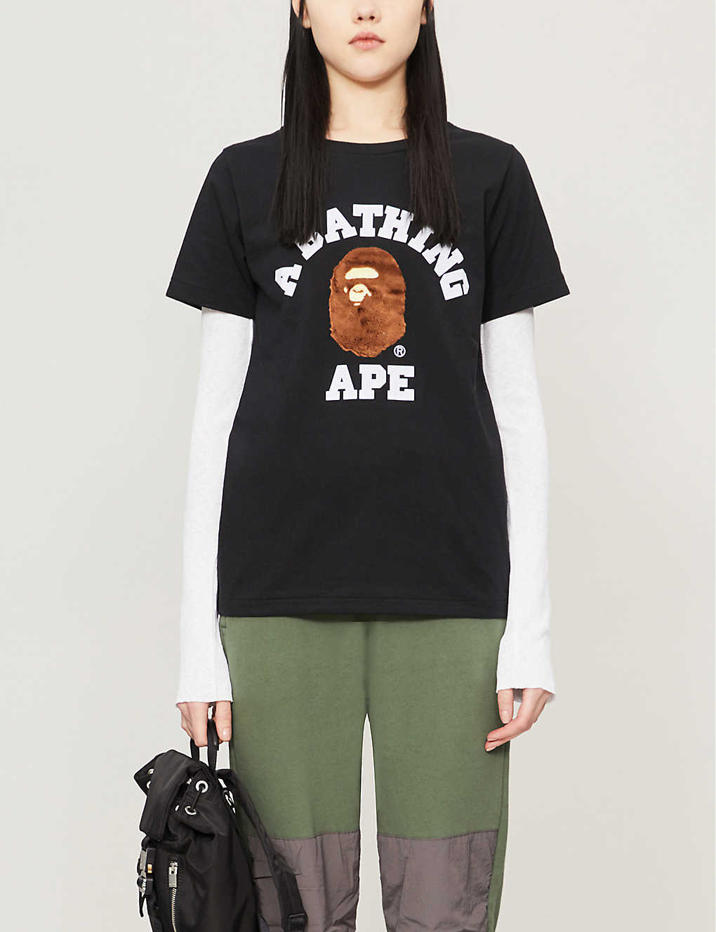 BAPE: College logo-applique cotton-jersey T-shirt