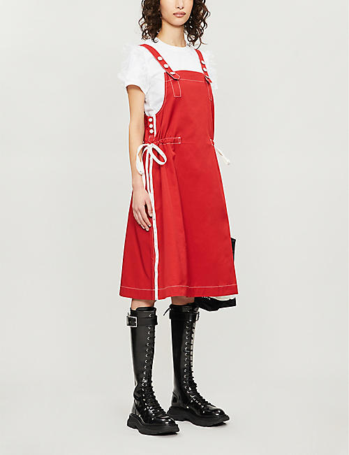 BAPY Branded-tape cotton-blend overall dress