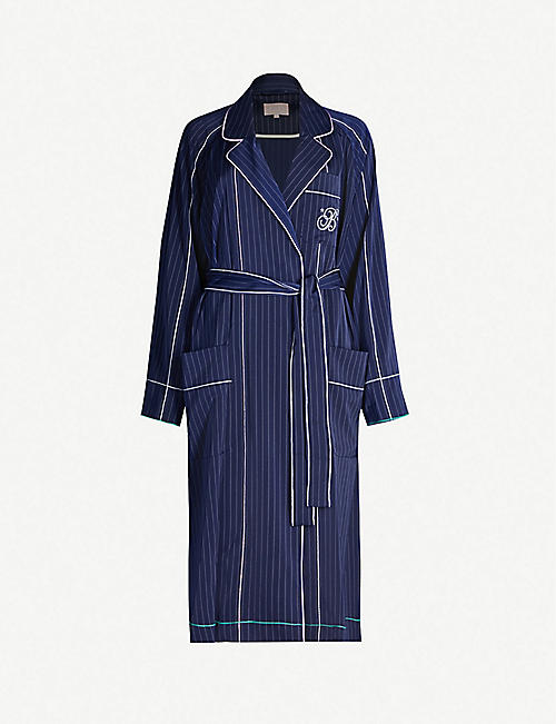 BAPY Pinstriped stretch-satin midi dress