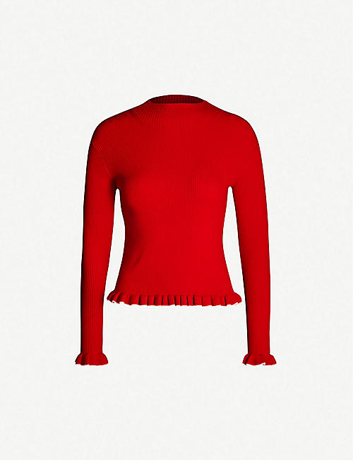 BAPY Ribbed stretch wool-blend jumper
