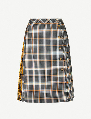 BAPY Checked pleated high-waist woven skirt