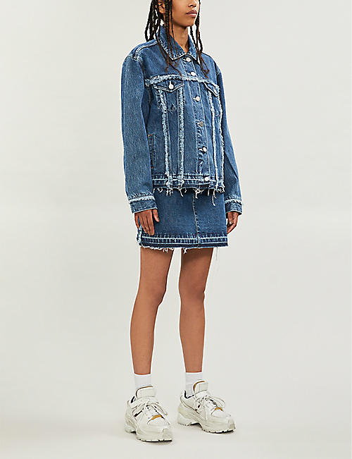 BAPY Raw-hem denim skirt