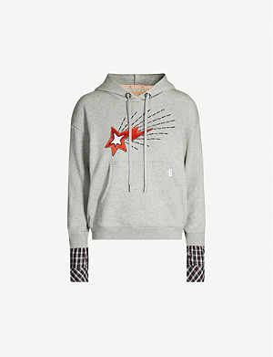 BAPY Bapestar beaded star-embroidered cotton-jersey hoody