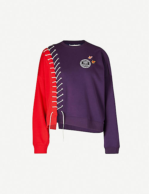 BAPY Two-tone appliqué cotton-blend sweatshirt