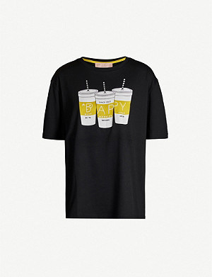 BAPY Beverage-print cotton-blend T-shirt