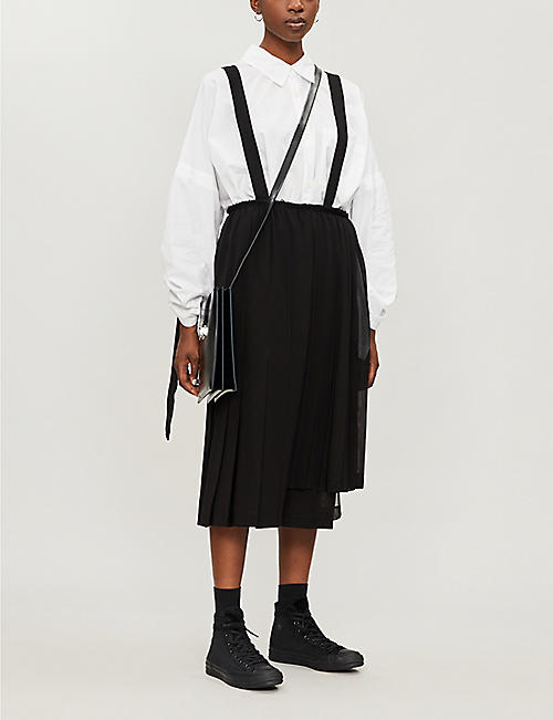 BLACK COMME DES GARCON Pleated crepe pinafore midi dress