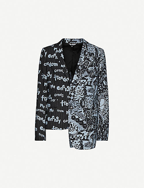 BLACK COMME DES GARCON: Text-print asymmetric wool-blend jacket