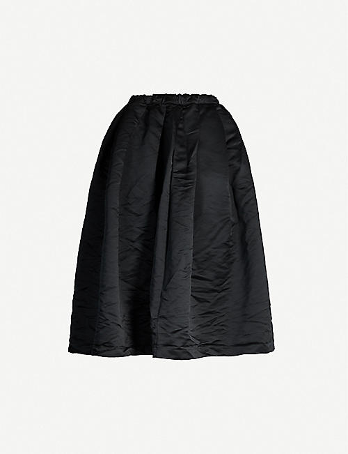 BLACK COMME DES GARCON Drawstring-waistband crinkled-texture satin midi skirt
