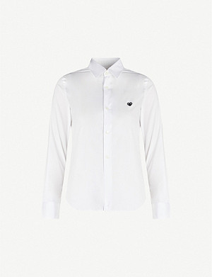 COMME DES GARCONS PLAY Heart-embroidered cotton-poplin shirt