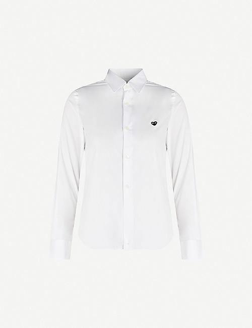 COMME DES GARCONS PLAY: Heart-embroidered cotton-poplin shirt