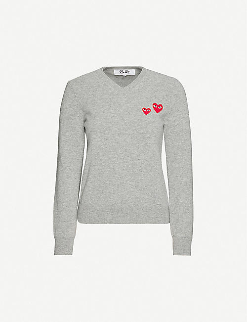 COMME DES GARCONS PLAY: Branded appliqué V-neck wool jumper