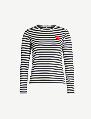 COMME DES GARCONS PLAY Heart-appliqué cotton-jersey top