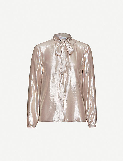 RED VALENTINO Metallic pussy-bow woven blouse